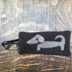 brown dachshund glasses or sunglasses case gift for man dachshund lover by cdbdi