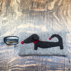 Grey dachshund glasses case/sunglasses case great gift for dachshund fan by cdbdi