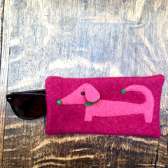 Pink dachshund sunglasses case or glasses case. Present for dachshund lover by cdbdi