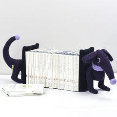 dachshund bookends purple with small books by cdbdi