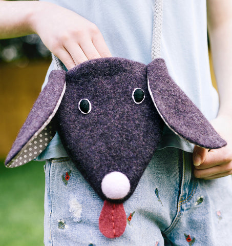 purple dog handbag for children by cdbdi