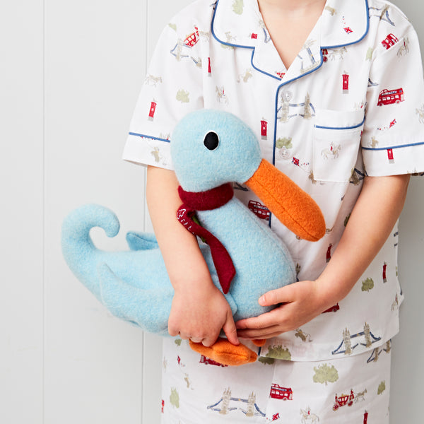 Duck in blue being held by child by cdbdi