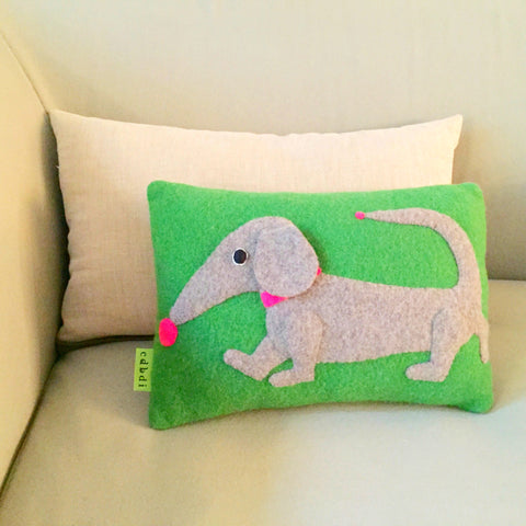 dachshund cushion in green by cdbdi