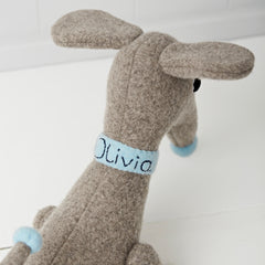 Dachshund in grey with blue collar personalised