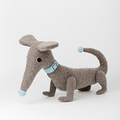 Dachshund in grey with blue collar personalised white background