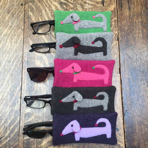 Group of different colour dachshund glasses cases by cdbdi
