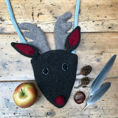 flat lay of children's reindeer handbag  by cdbdi
