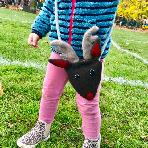 children's reindeer handbag on little girl by cdbdi