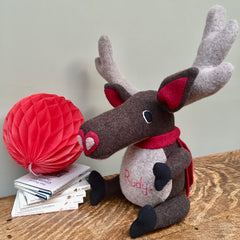 Reindeer Soft Toy, Handmade and Personalised