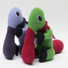 duck billed platypus soft toy pair purple and lilac and green and red