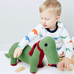 Dinosaur playing with boy in green and red by cdbdi