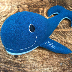 Soft Toy Whale Close Up Of Personalisation