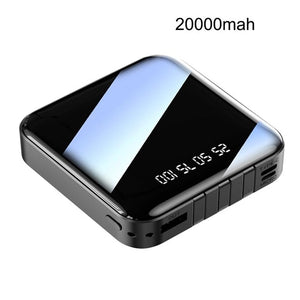 Mini Power Bank 10000mah 20000mah 2.1A Fast Charging Three-line Charger LED Digital Display Portable PoverBank External Battery