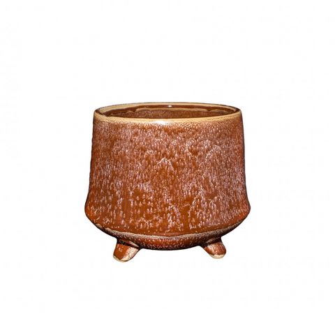 Kiku Footed Planter - Chestnut