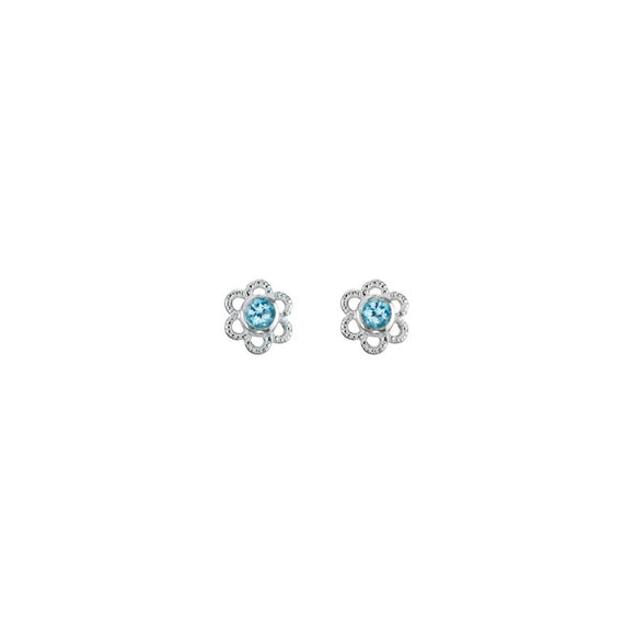 Blue Diamond Flower Earrings