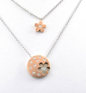 14K Rose Gold Round Pendant with Flower Cutout