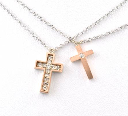 14K Rose Gold 2 Piece Cross
