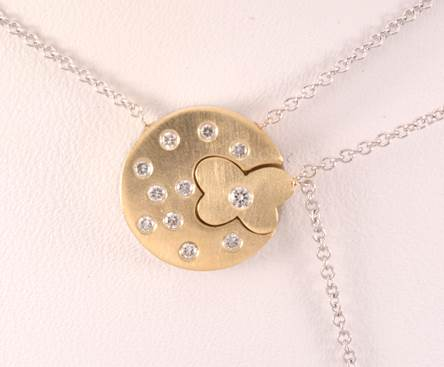 14K Yellow Gold Round Pendant with Butterfly Cutout