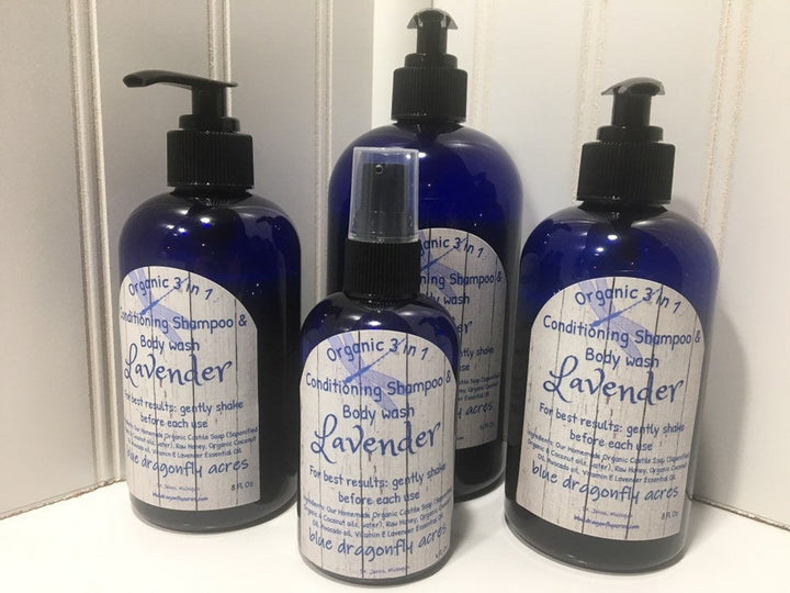 Organic Lavender 3-1 Conditioning Shampoo & Body Wash - Shampoo - Conditioner - Body Wash - Blue Dragonfly Acres LLC