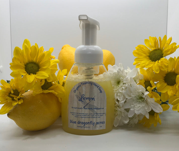 Lemon Organic Foaming Hand Soap  | Natural Hand Wash - Blue Dragonfly Acres LLC