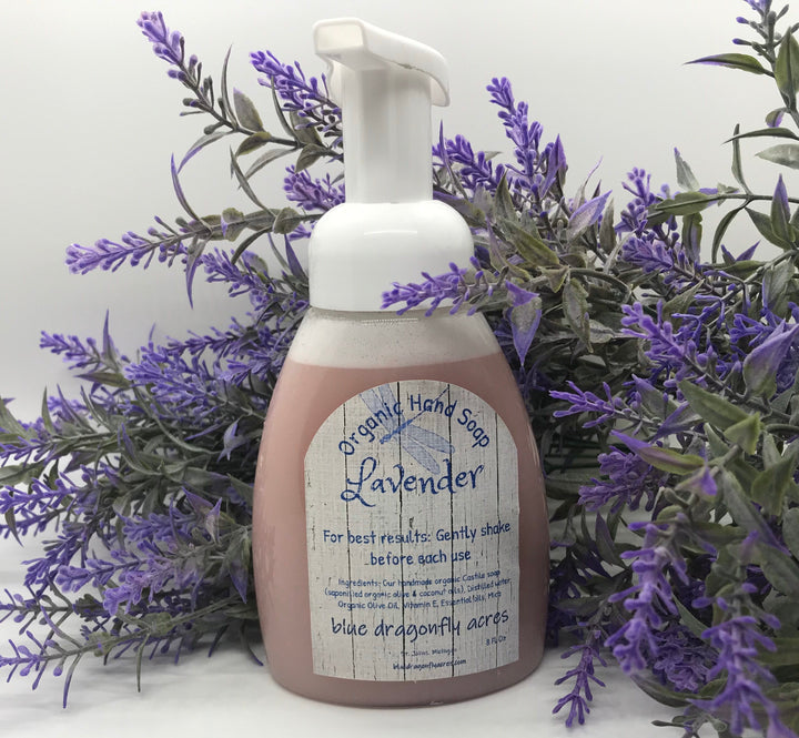 Lavender Foaming Hand Soap  | Natural Hand Wash  Organic and Vegan - Blue Dragonfly Acres LLC