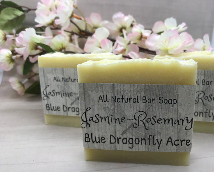 Jasmine - Rosemary Bar Soap - Handmade Cold Pressed - Blue Dragonfly Acres LLC