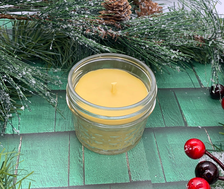 Christmas Wreath Beeswax Candle - Christmas Candle - Blue Dragonfly Acres LLC