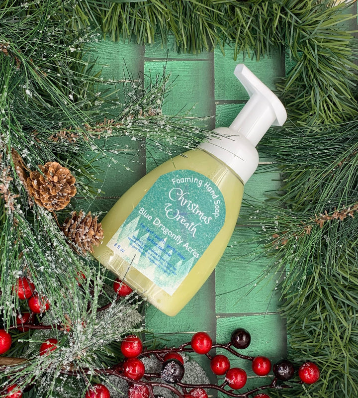 Christmas Wreath Foaming Hand Soap - Natural Hand Wash - Blue Dragonfly Acres LLC