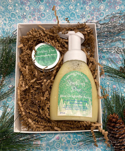 Sparkling Pine Hand Soap Gift Set - Hand Wash and Lotion Gift Basket - Christmas Gift - Care Basket - Blue Dragonfly Acres LLC