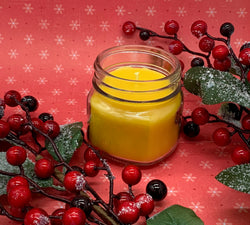 Cranberry Mistletoe Beeswax Candle - Christmas Candle - Blue Dragonfly Acres LLC