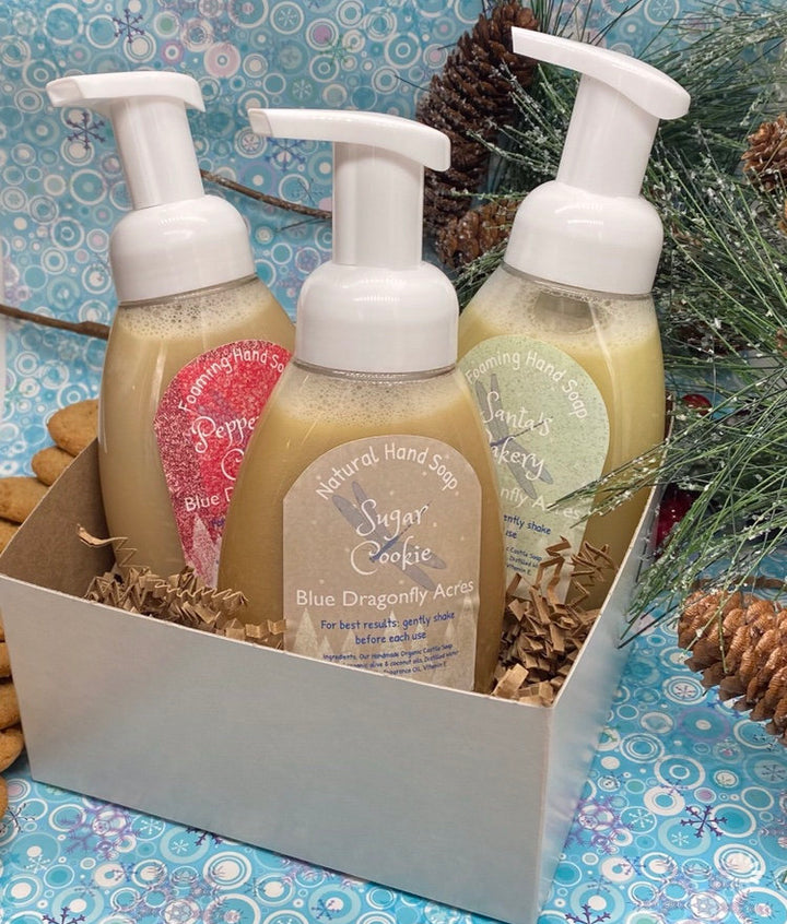 Christmas Cookie Hand Soap Gift Set - Sugar Cookie Hand Wash - Santa's Bakery Hand Soap - Peppermint Cookies Foaming Hand Wash - Blue Dragonfly Acres LLC