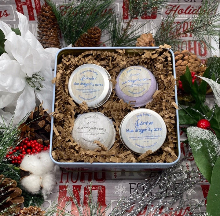 Bath Bomb and Body Butter Gift Set - Christmas Gift for Her - Kids Christmas Gift - Stocking Stuffer - Blue Dragonfly Acres LLC