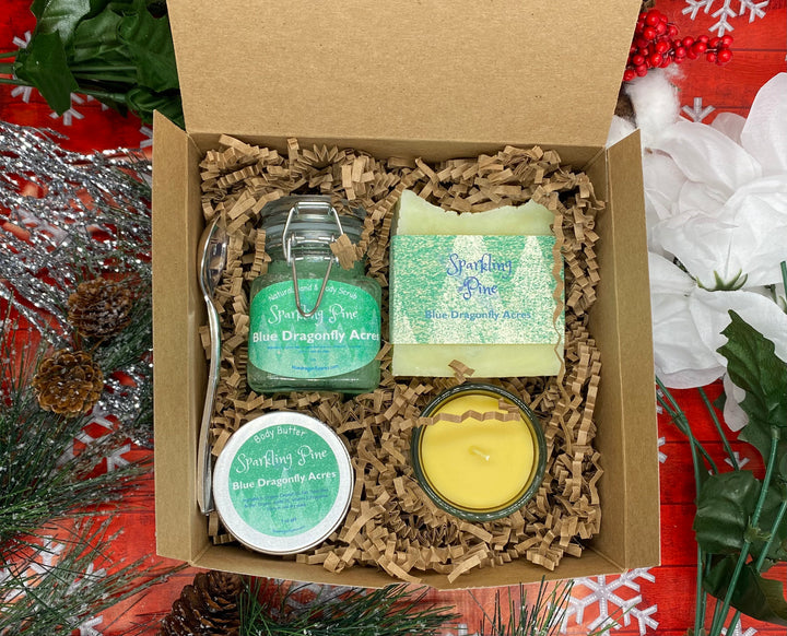 Sparkling Pine Gift Box - Christmas Gift Basket for Mom-Gift for Friend -Sparkling Pine Gift Basket - Blue Dragonfly Acres LLC