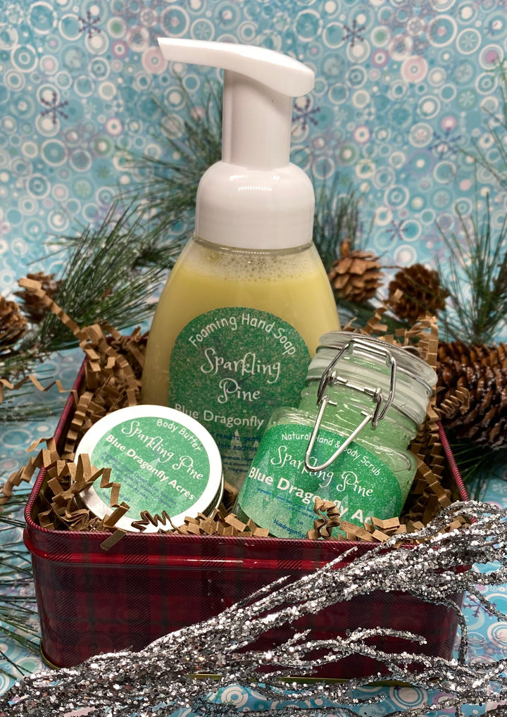 Sparkling Pine Hand Care Gift Basket - Christmas gift set - natural hand soap - Hand Care Package - Blue Dragonfly Acres LLC