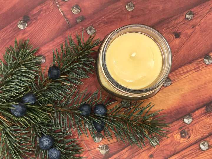 Juniper Woods Beeswax Candle - Blue Dragonfly Acres LLC