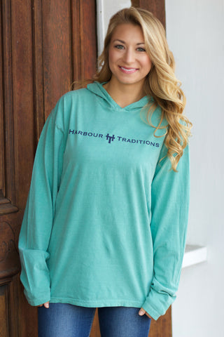 HT Hooded L/S T-Shirt-Seafoam