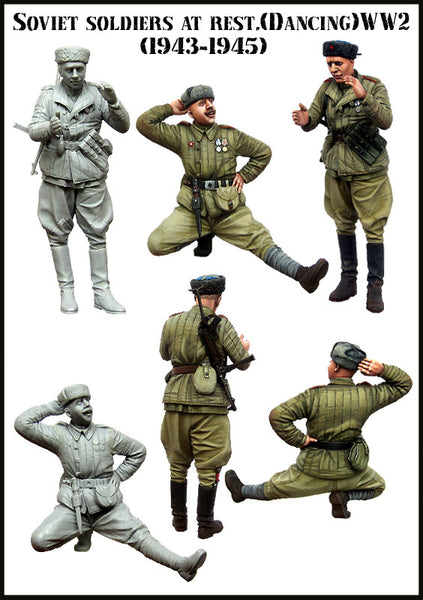 Soviet Soldiers at rest WW2 Dancing, (1939-1845)