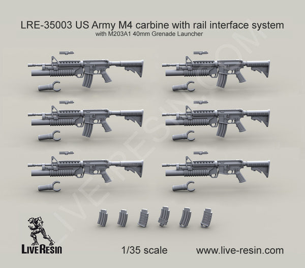 US Army M4 Carbine With M203A1 Grenade Launcher and Rail System