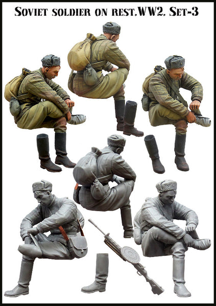 Soviet Soldier At Rest. WW2, Set3