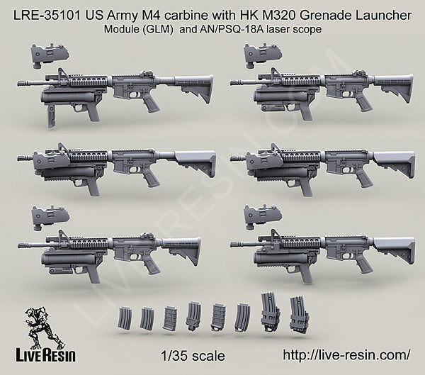 LRE35101 US Army M4 carbine with HK M320 Grenade Launcher