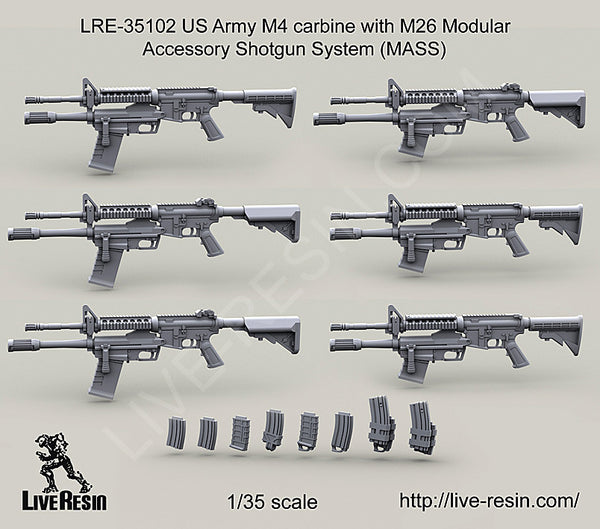 LRE35102 US Army M4 carbine with M26 Modular Accessory Shotgun System (MASS)