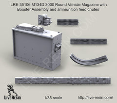 LRE35106 M134D 3000 Round Vehicle Magazine with Booster assembly and ammunition feed chutes
