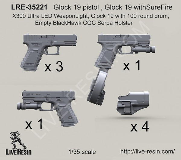 LRE35221 Glock 19 pistol, Glock 19 with SureFire X300 Ultra LED Weapon Light, Glock 19 with 100 round drum, Empty Blackhawk Holster