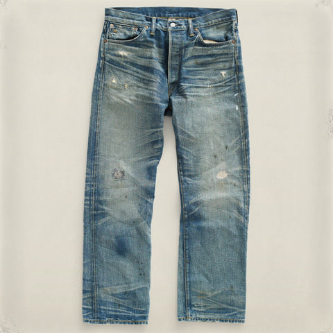 Straight Leg Repaired Denim