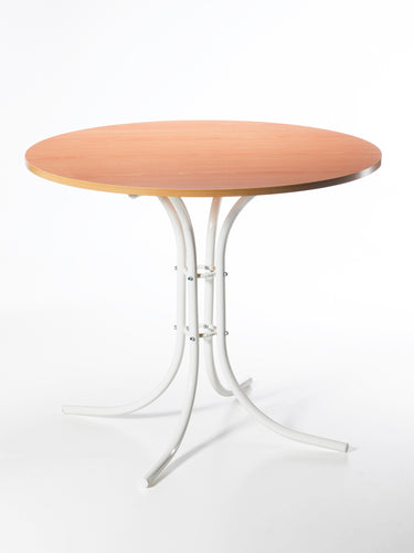 kitchen table ravenna metal legs white painted frame top natural wood beech diameter 90 abs edge table ravenna pietement verni blanc plateau hetre ep 18 d.90 bord abs