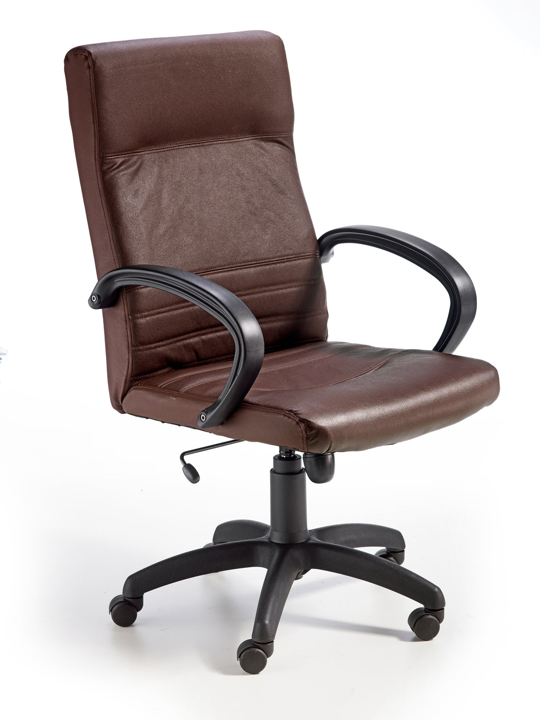 office armchair 5 castors height adjustable with gas lift tilting mechanism brown