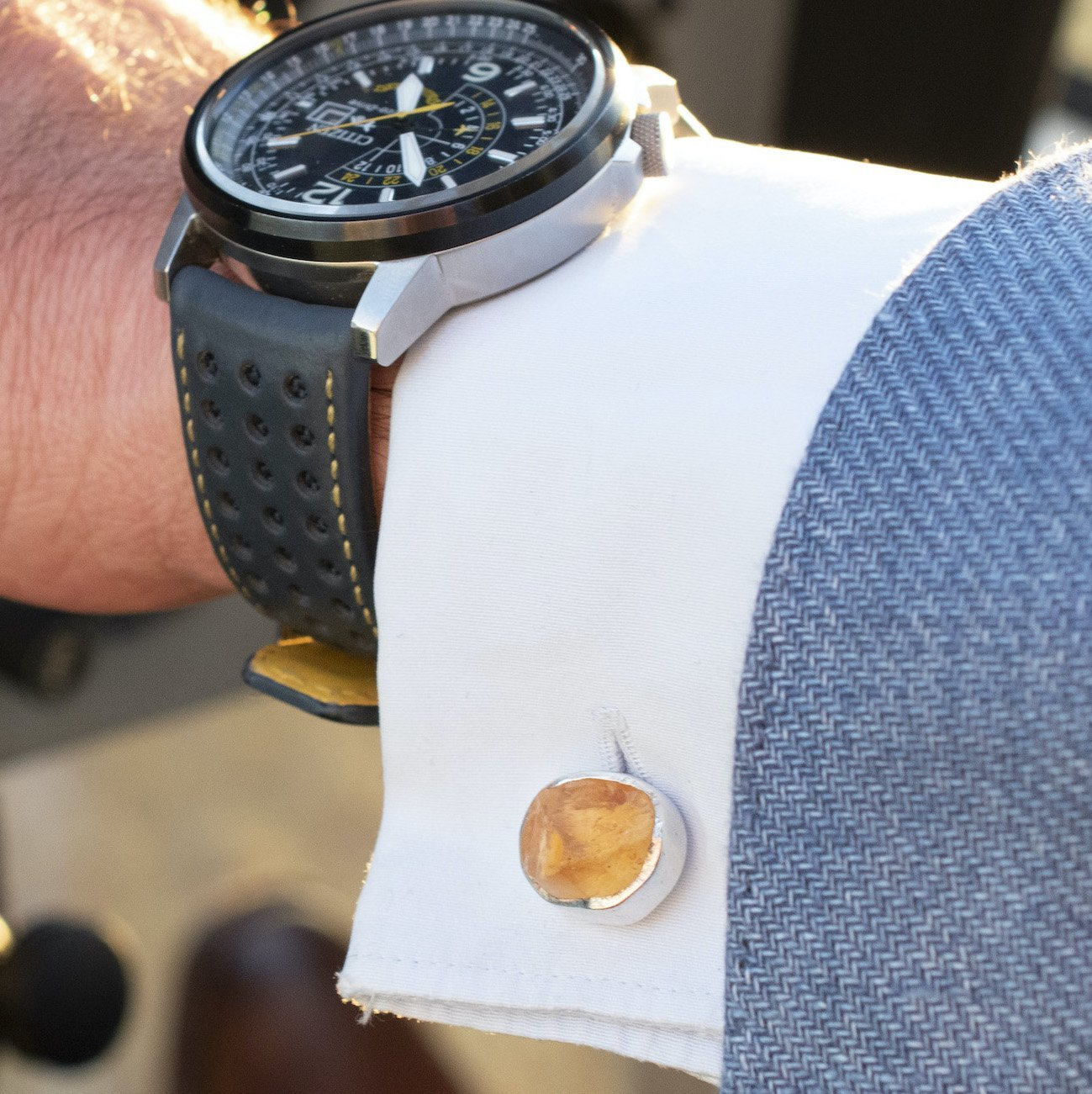 'Hustle' Citrine Cufflinks
