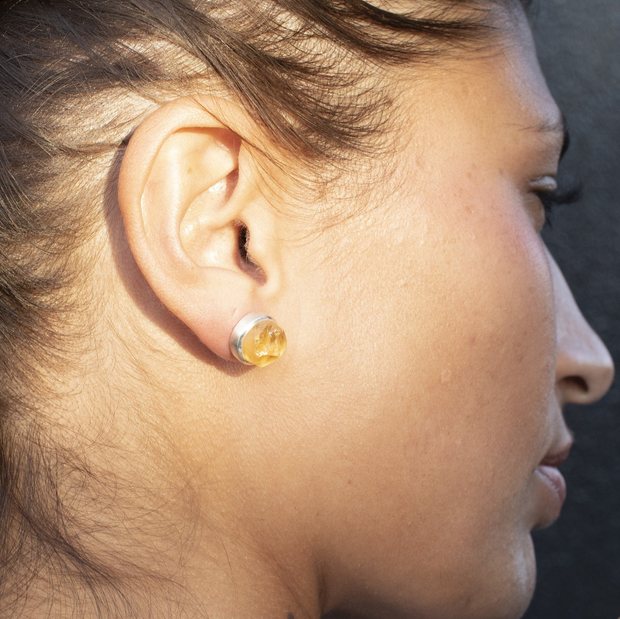 'Hustle' Citrine Raw Studs