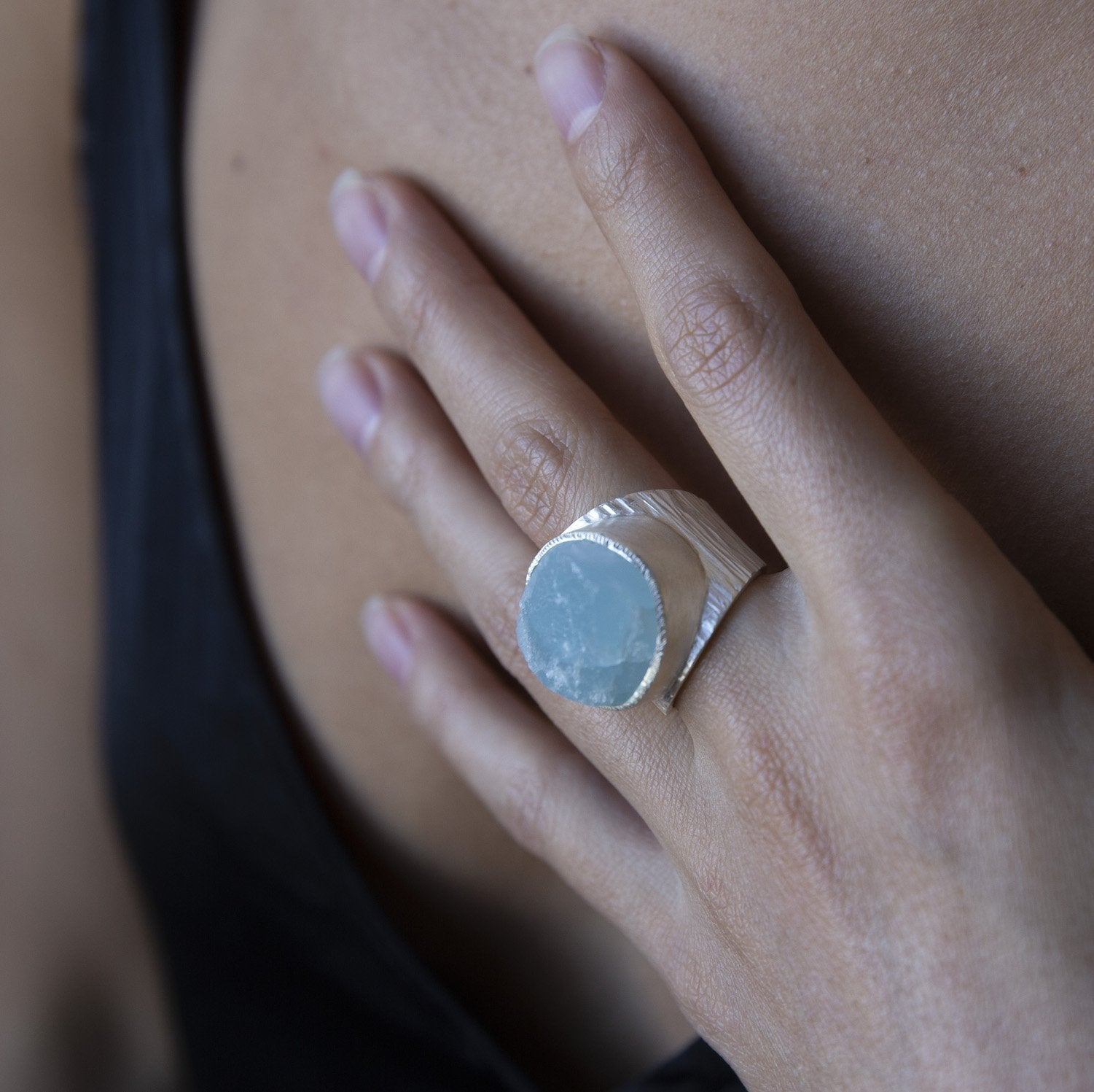 'Anchor' Aquamarine Macho Ring - Large Stone