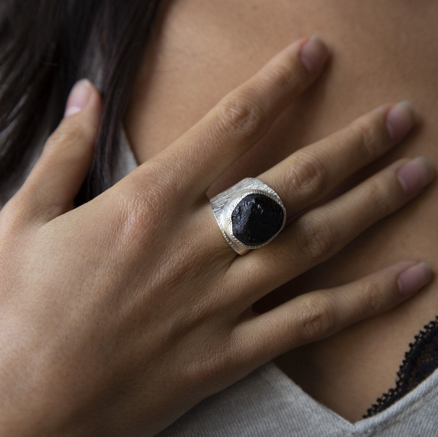 'Dark Horse' Black Tourmaline Macho Ring